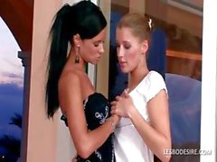 Lesbian best friends strip each other slowly and share kisses