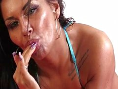 Extremely erotic scene with two busty lesbian