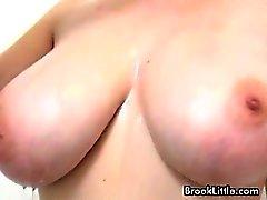 Smoking hot blonde babe in pink shirt strips and touching