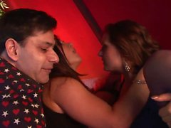 Volumputous babe turns on horny dude at a party