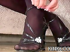 Skinny gal flaunts bushy snatch and feet in fancy pantyhose