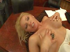 Blonde babe Ashley Winters sucks on a black cock and fucks it