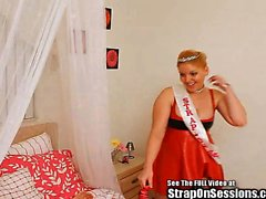 Kinky couple plays with the Strap On Princess
