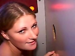 Nasty gloryhole booth worked by Deanna