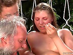 Agata and Hadjara has crazy sex fun with aged man