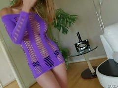 Slim MILF Dava Foxx in purple minidress and black panties