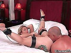 Hot blonde slut gets horny sucking part2