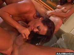 AdultMemberZone - Two tight hotties take on a big white dick