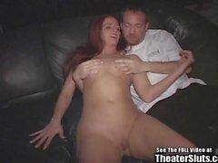 Wild redhead slut wife takes on entire theater