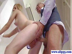 Young brit babe riding old sir dick