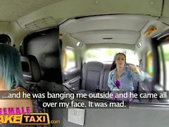 Feminino Fake Taxi Lesbian fúria apertada foda com uma cinta no vibrador