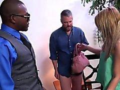 Babe gives interracial bj