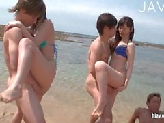 Naughty Sluts Get Banged On The Beach