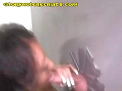 Young amateur ebony babe comes to the glory hole and sucks white meat