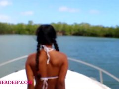 Heather Deep flahing on new boat and fucked hard till messy cunshot