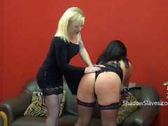 Bbw slave Andreas lezdom tit torture and hard spanking by blonde mistress Angel
