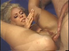 Blonde bends over in ring and gets fucked deep in her pussy