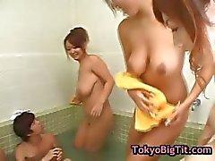 Four busty asian girls in gangbang