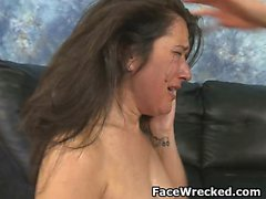 Two Guys Take Turns Really Pounding On Deliah Dukes Face