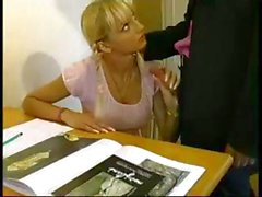 French blonde schoolgirl is having trouble studying so the teacher fucks during break