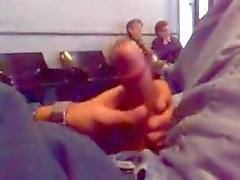 Stroking a hot cock in a Waiting Room w Cum