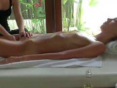 Lesbian Oil Massage with Intense Orgasm