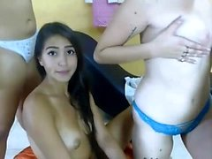 Latina Threesome Hot Blowjob Party