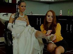 Brunette Hair Bride Receives Lesbos Attention