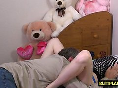 Brunette teen blowjob and creampie
