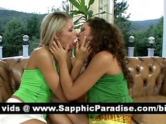Sexy brunette and blonde lesbos kissing and having lesbo sex