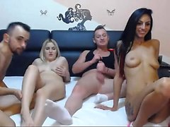 Hot group sex party with blonde and brunette