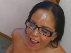 Tattooed Mikayla gets a face full off warm nut juice