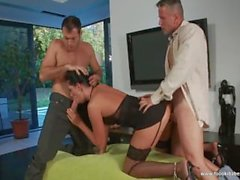 Amazing babe gets fucked in hot threesome