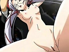 Hentai MILF gives double BJ and takes facial