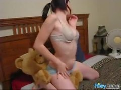 Riley Rebel gives Lucky Teddy Bear a Lapdance