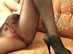 Dirty Girl Masturbates While In Pantyhose