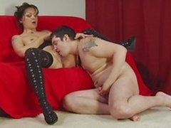 Beautiful brunette slut sucks her man's dick on her knees