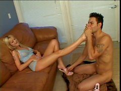 Smoking hot blonde with a foot fetish