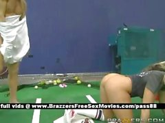 Busty blonde slut on a tennis court gets her pussy licked
