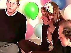 Group of amateurs playing a sexy party game