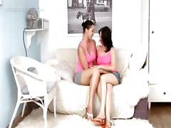 Excited lesbo teen cuties rubbing hot boobs and cunts