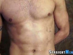 Muscly jock solo stroking