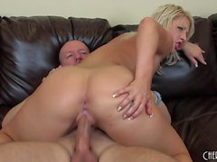 Hot blonde Kimmy Olsen gets her honey hole pounded hard and creampied
