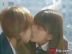 Japanese Schoolgirls Kissing
