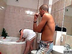 Chubby cutie meets a horny guy in the bathroom