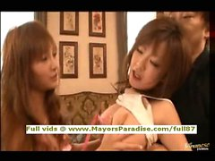 Rio and Kirara smart Asian chicks playing with their pussies