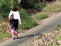 Heeled japanese slut pees