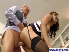 Young brit slut giving head to old man