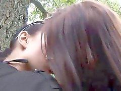 Eroberlin Klara S Hana lesbian outdoor kissing Berlin