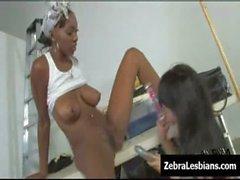 Zebra Girls - Ebony lesbian babes fuck deep strapon toys 03